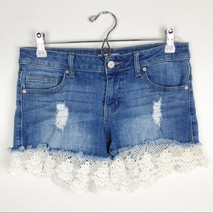 Altar'd State Lace Trim Distressed Denim Shorts 27